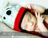 Crochet Georgia Bulldog Hat With Earflaps, Size Newborn, 3 Month, 6 Month, Infant Photography Set, Sports Fan Beanie, Game Day, Team Spirit