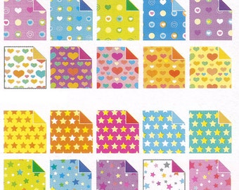 Pattern Collection 2 ( Plain, Star, Heart, Pearl)- Double Sided Origami Paper - 50 Sheets