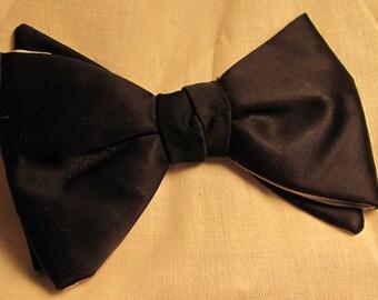 Vintage Bowtie Clipon in Black Satin Delton Rustresist Midcentury modern mad men