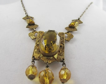 Vintage Necklace Art Deco 1920s Citrine Amber Yellow Rhinestone Crystals Amazing sculptured Architectural setting