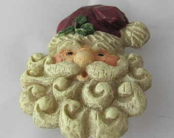 Jolly Santa Vintage Holiday Brooch gift Carved Wood texture Happy Ho Ho Ho
