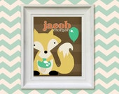 Nursery Art Print - Woodland Fox 8x10 Personalized Baby Room Decor