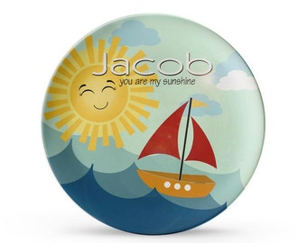 Personalized Plate, Sailboat Plate, Personalized You Are My Sunshine Birthday, Cake Plate, Melamine Dish