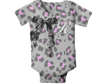 Leopard Print Baby Shirt, Monogrammed Girl's Snap-Shirt, Personalized Grey and Pink Outfit