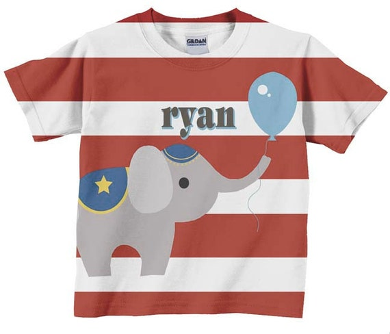 Circus Birthday Shirt,  Personalized Carnival Elephant T-Shirt, Childrens Clothing