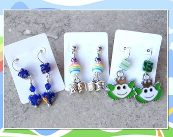 STORYBOOK SET- Girl's Post Earring Set-  Millefiore Hearts, Frogs, and Rainbows and Storybooks