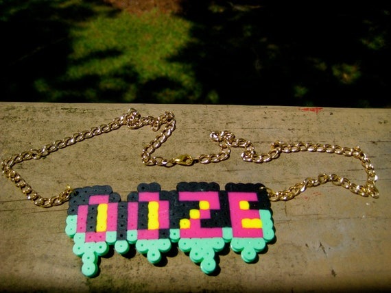 Perler bead Grunge Necklace on gold chain