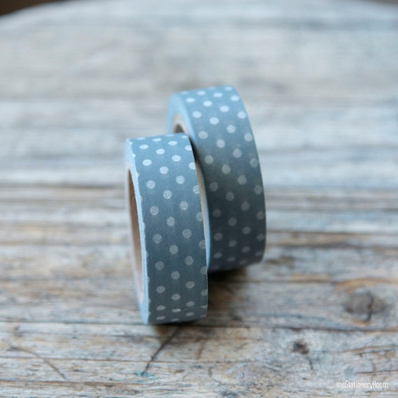 Japanese Washi Tape - Masking Tape roll in Grey and White Polka Dots