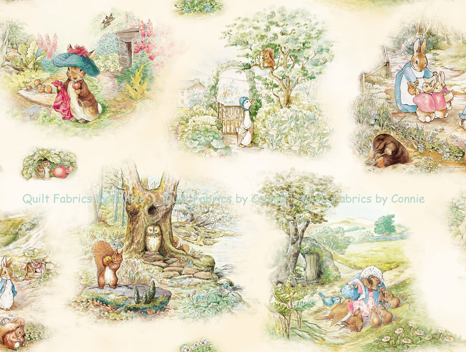 Beatrix Potter Garden Tales Fabric By QuiltfabricsbyConnie