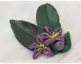 Purple Flower Brooch, Polymer Clay Brooch, Flower Scarf Pin, Lemon Tree Blossoms Broach, Hand-Sculpted Brooch, Spring Pin - One Of A Kind
