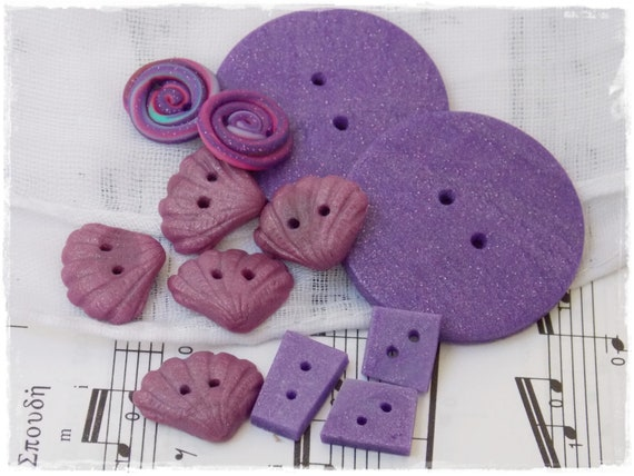 Oops -  Polymer Clay Buttons, Purple Buttons (Set Of 12)