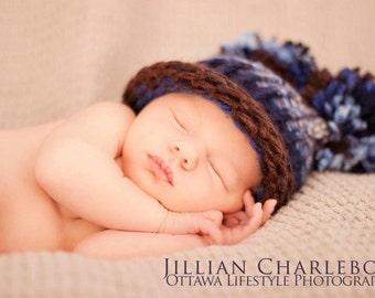 Baby Boy Hat, Knitted Pom Pom Hat, Knit Baby Hat, Newborn Baby Hat, Baby Photo Prop, Baby Shower Gift, Newborn Hat, Baby Elf Hat