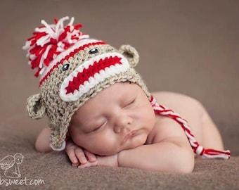 newborn sock monkey hat