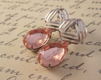 Old hollywood pink and silver earrings