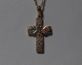 Whitaker's Black Hills Gold Pebble Textured Cross Pendant