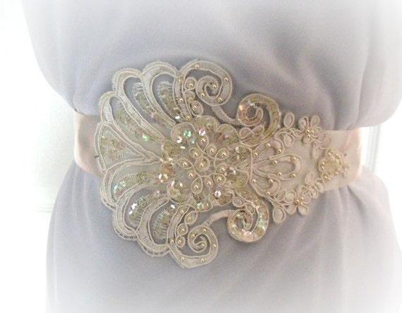 Wedding Bridal Sash Belt - Romantic Light Ivory - Lace Beads and Sequins