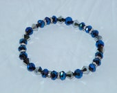 Brilliant Metallic Blue Crystals with Silver Plated Rhinestones and Metallic Silver Bicone Beads Bracelet