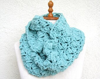 Seafoam Crochet Scarf Infinity extra large chunky circular circle for woman