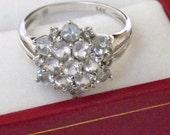 Vintage Morganite, Aquamarine, Diamond Snowflake Ring/14K White Gold