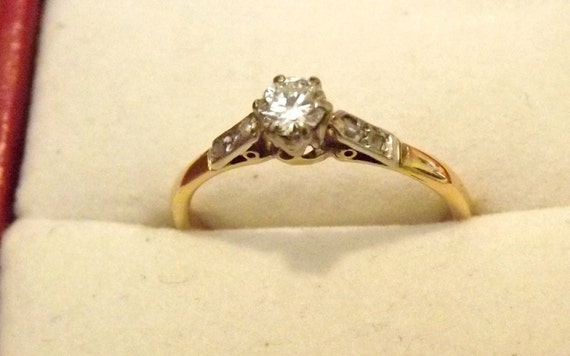 RESERVED Shelby/Vintage Diamond Gold Platinum Ring/18K/Engagement