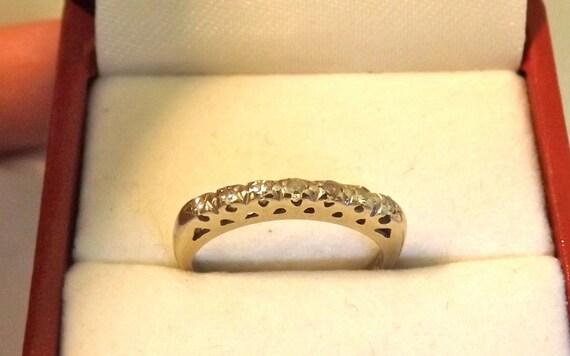 Vintage Diamond White Gold Band Ring/14K