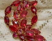 Vintage Red Juliana Style Rhinestone Brooch