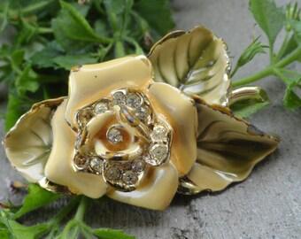 Vintage Golden Flower Painted Brooch
