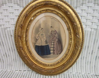 Godey's Lady print in Antique Ceramic/Wood Frame by Gerrity Bangor, Maine: Inscribed Frame belonged to my great grandmother