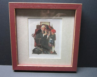 Vintage Norman Rockwell Framed Print Doctor and the Doll