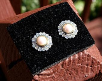Earrings Pearl and Diamond Rhinestone