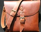 Leather Messenger / Laptop Bag with Natural Range Marks