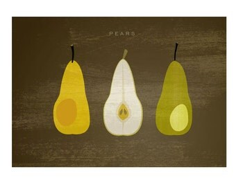 Dark Pears poster - Food Poster - Fruit poster - Original Illustrated Digital Image for Download Printable