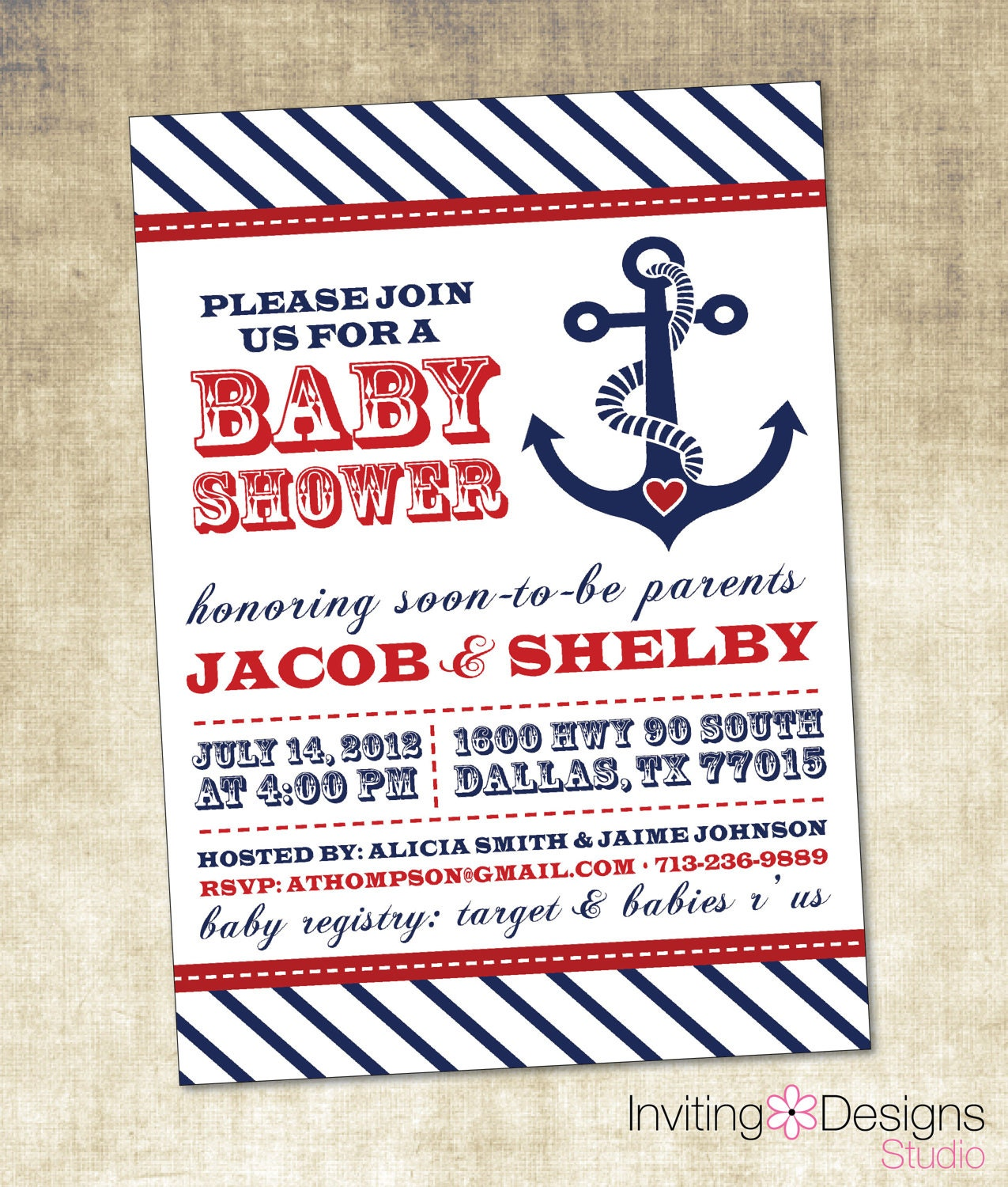 nautical baby shower invitation blue red by invitingdesignstudio