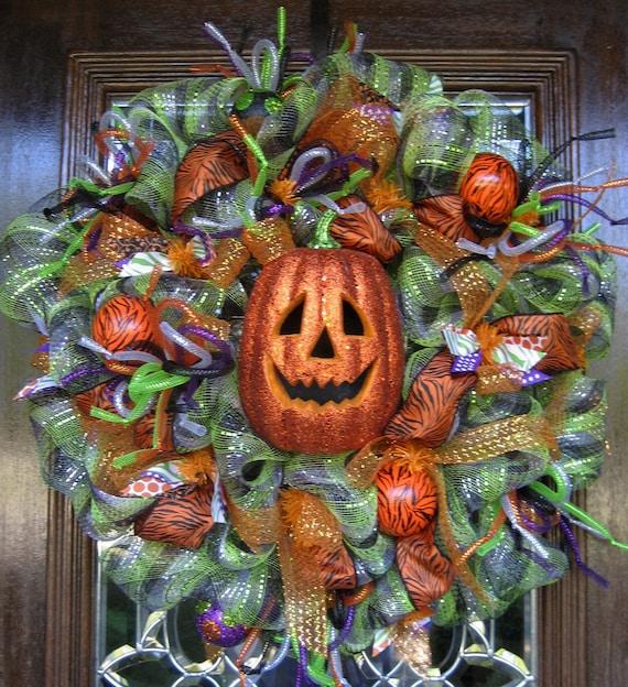 Deco Mesh HALLOWEEN JACK-O-LANTERN Wreath