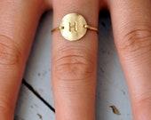 Circle disk letter initial ring. 14kt gold filled - custom size, monogram
