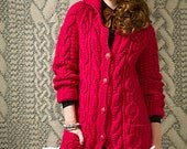 Hand knitted Car Coat for women. 100% Wool (bulky) . Made to order. Custom made