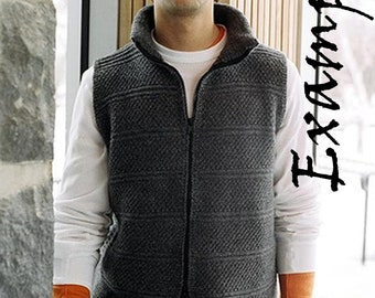 Hand knitted Zipped Vest for Men. 100% Pure  Wool. Made to order. Custom made