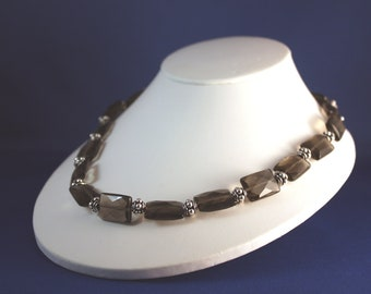 "Smokey Quartz & Silver Necklace, 20"""