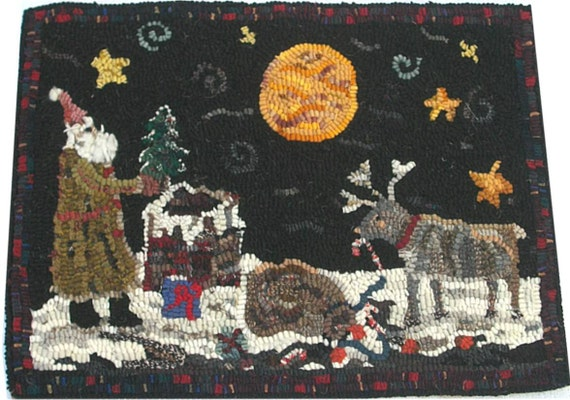 Hooked Rug Santa & Mischievous Reindeer on Roof Top