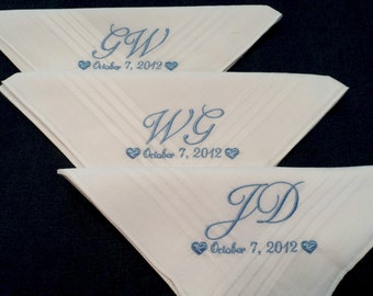 Embroidered Personalized Handkerchiefs from the Groom to his Groomsmen