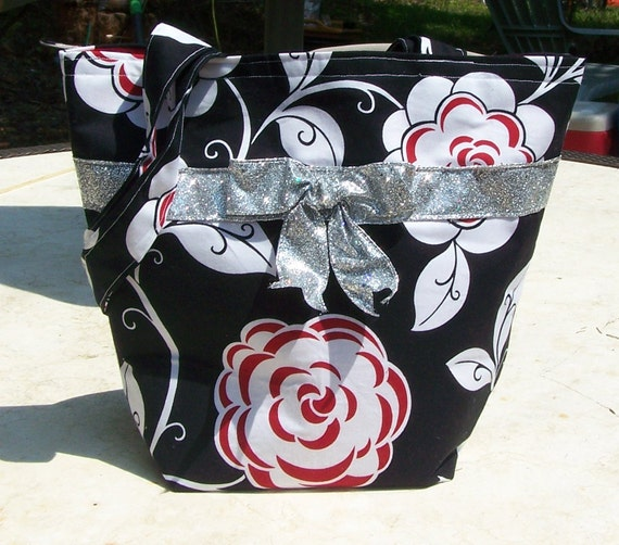 Reserved for KRISTINA  / Black & White Tote Bag with Red roses  Handbag