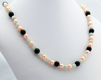 Chalcedony, Pearl and Onyx Strand Necklace, Bridal, Wedding Jewelry, Statement Necklace, June Birthstone, February Birthstone