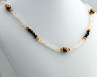 Garnet, Rose Quartz and Cloisonne Necklace, Gemstone Necklace, January Birthstone