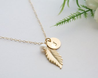 Gold Feather 14k Gold Filled Necklace,Personalized,Monogram Necklace,Wedding Jewelry,Bridal