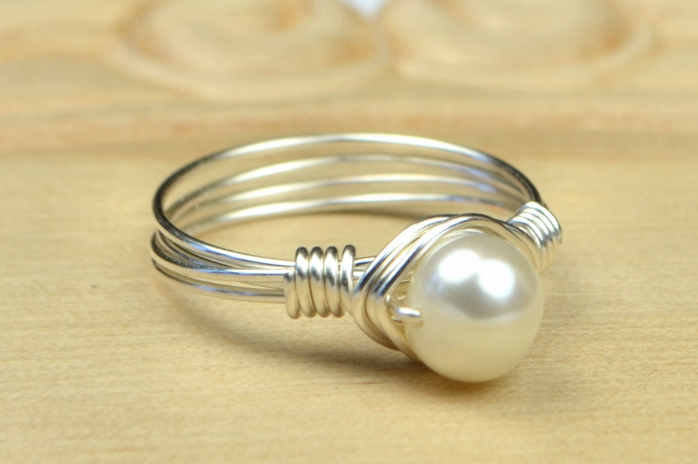 freshwater pearl ring sterling silver yellow or gold