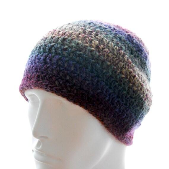 Crochet beanie hat, men's or women's crochet hat, wool-blend hat, woodland tweed hat, winter fashion, medium to large hat
