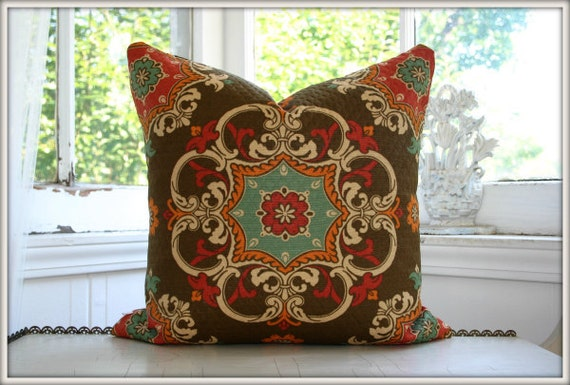 REVERSIBLE Waverly Sun N Shade Quilted Garden Crest Chocolate pillow cover / 18x18