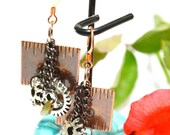 Steampunk measuring tape and cog earrings in copper and gun metal free shipping