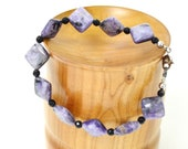 Purple Charoite Diamonds & Black Onyx Bracelet - Free Shipping