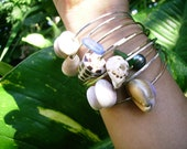 """Custom Puka Shell, Cone Shell, Freshwater Pearl Bangle Bracelets """"CREATE and PICK"""" Your Own Bangle on Sterling Silver"""